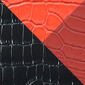 Alligator vernis noir & orange - rouge