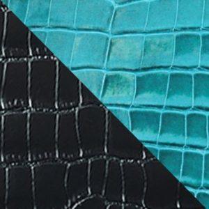 Veau grainé & alligator noir et bleu turquoise