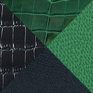 Veau grainé & alligator vernis - vert noir