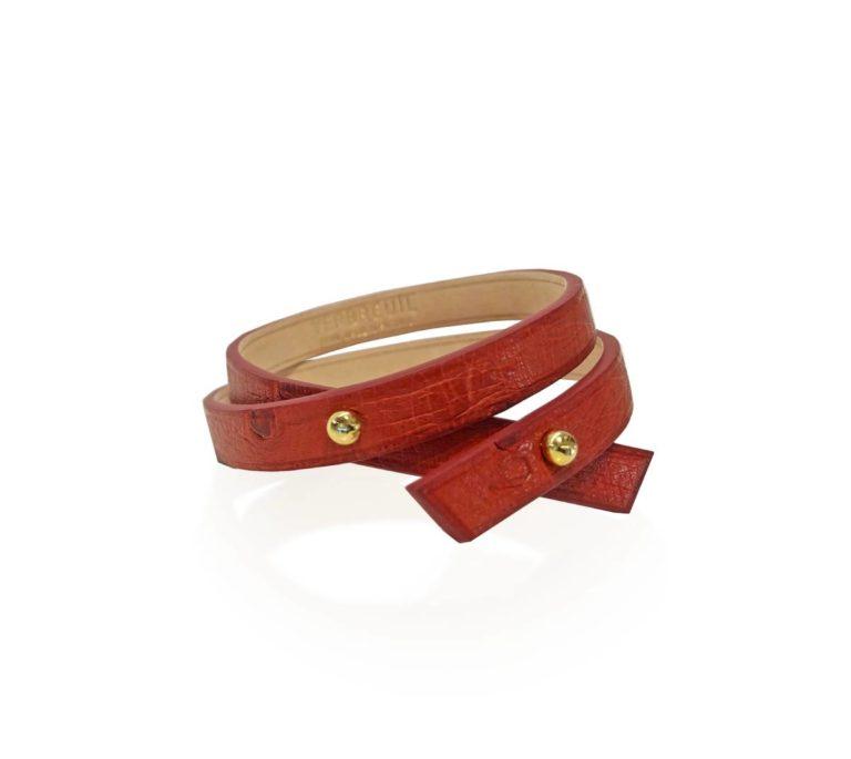 Bracelet Roch Autrouche photo principale rouge brique et boutons dores