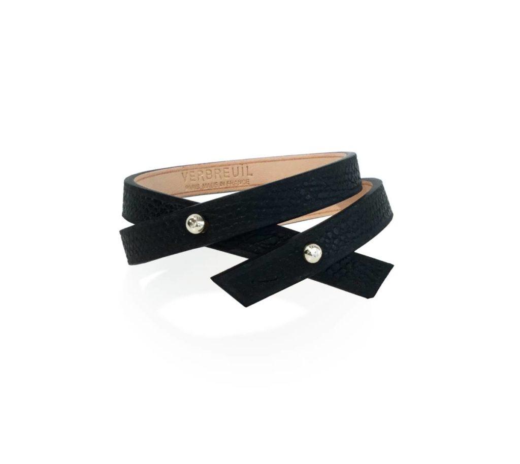 Bracelet Roch veau garine noir et boutons argentes